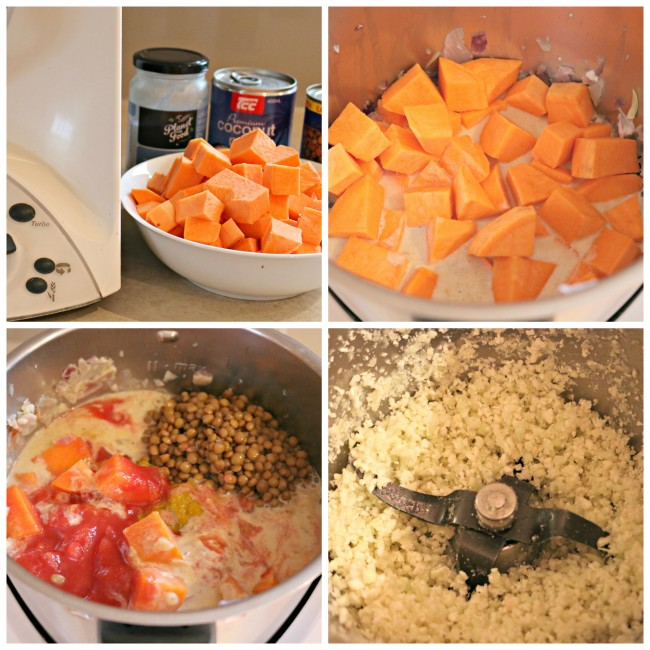 sweet potato, coconut and lentil soup with cauliflower rice