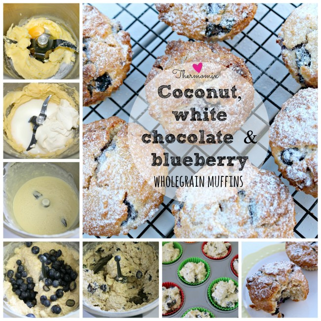 thermomix coconut, blueberry and choc chip wholegrain muffin 1