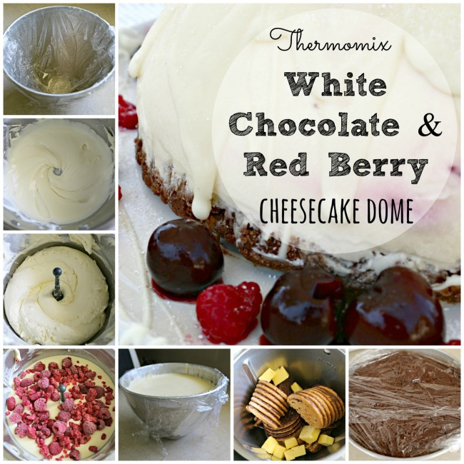 white choc and red berry cheesecake dome