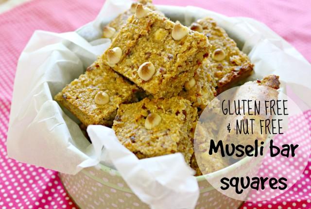 gluten free and nut free muesli bar squares